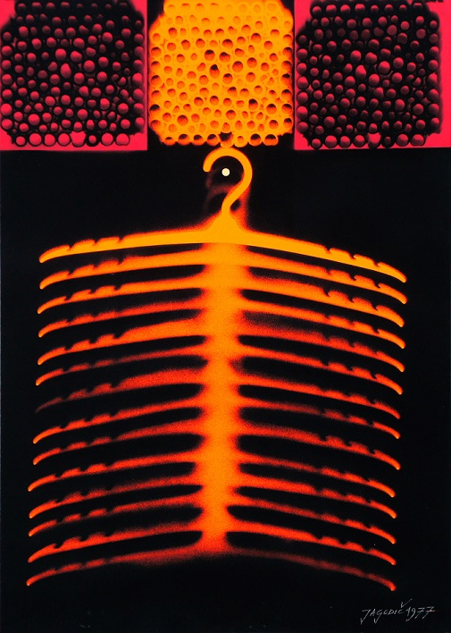 Stane Jagodič: Hanging Dimension, spraygram, 1977